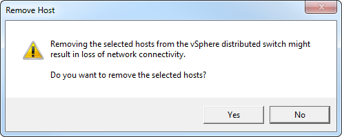 Confirm vDS removal
