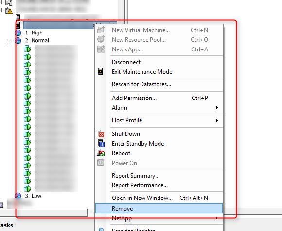 Remove ESXi host form cluster