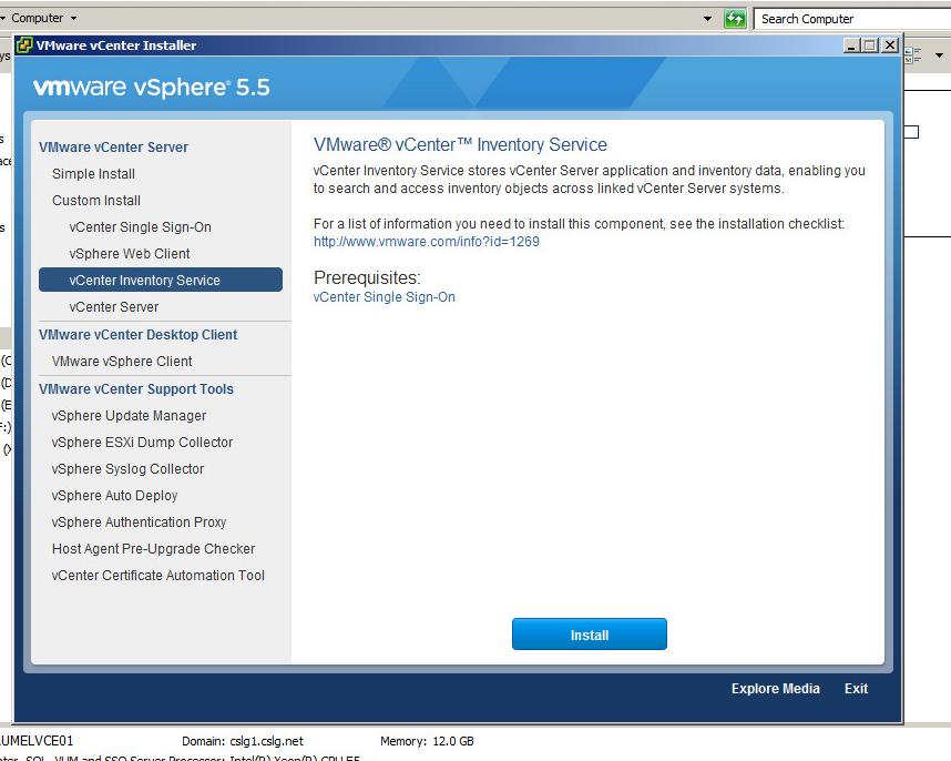 vcenter inventory service upgrade step 1