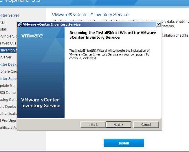 vcenter inventory service upgrade step 3