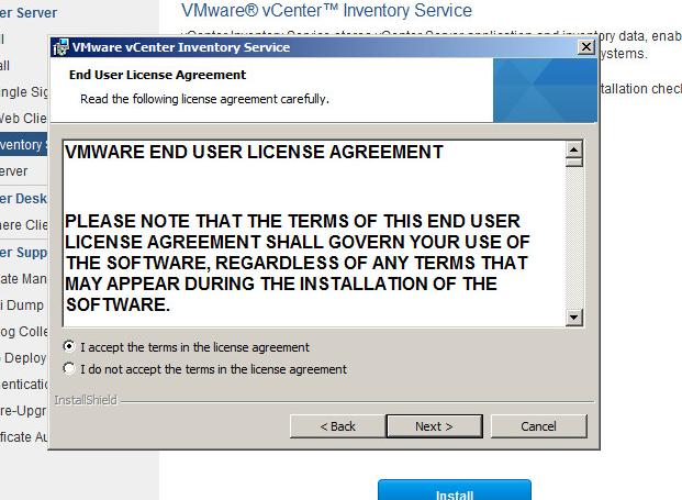 vcenter inventory service upgrade step 4