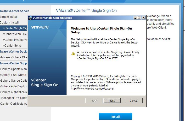 vcenter upgrade step 1